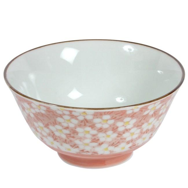 日本美濃燒飯碗 早春紅