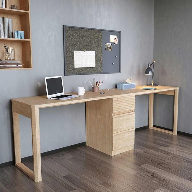 林氏木業北歐簡約儲物書桌 2.4M HS1V-原木色