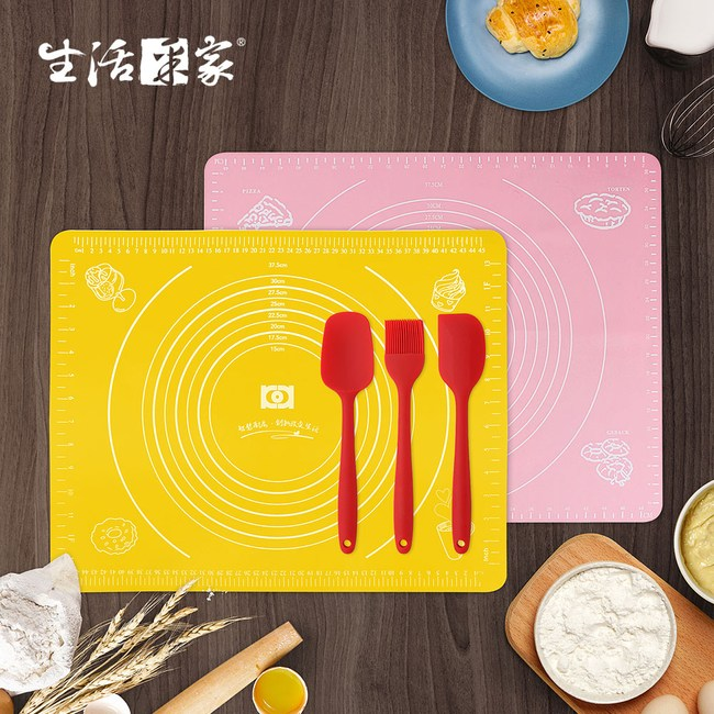 【生活采家】烘焙助手揉麵攪拌五件組(矽膠墊2入+大號調理3件組)#99