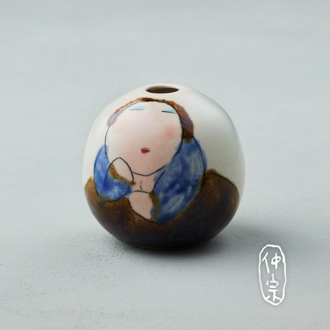 吳仲宗|胖太太系列 - 手做蛋瓶 - 淺水綠 (黛藍衣)