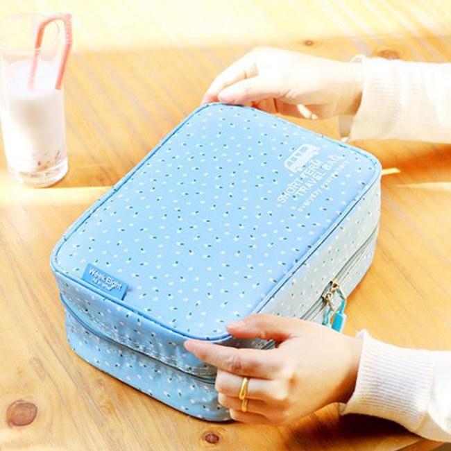 【韓版】420D加密防水小清新可懸掛盥洗化妝包(4色)(天藍碎花)
