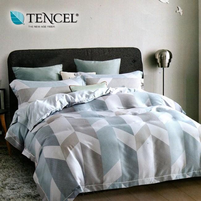 【貝兒居家寢飾生活館】100%萊賽爾天絲兩用被床包組(雙人/柏格)