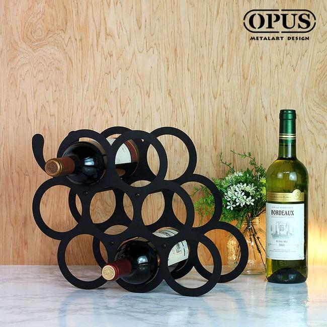 OPUS 歐式鐵藝酒托/紅酒櫃擺件/酒瓶架(葡萄酒架_黑)