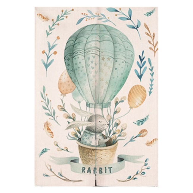【Loviisa 熱氣球小兔】開運棉麻門簾 窗簾 韓版風水簾 送伸縮桿85x120cm