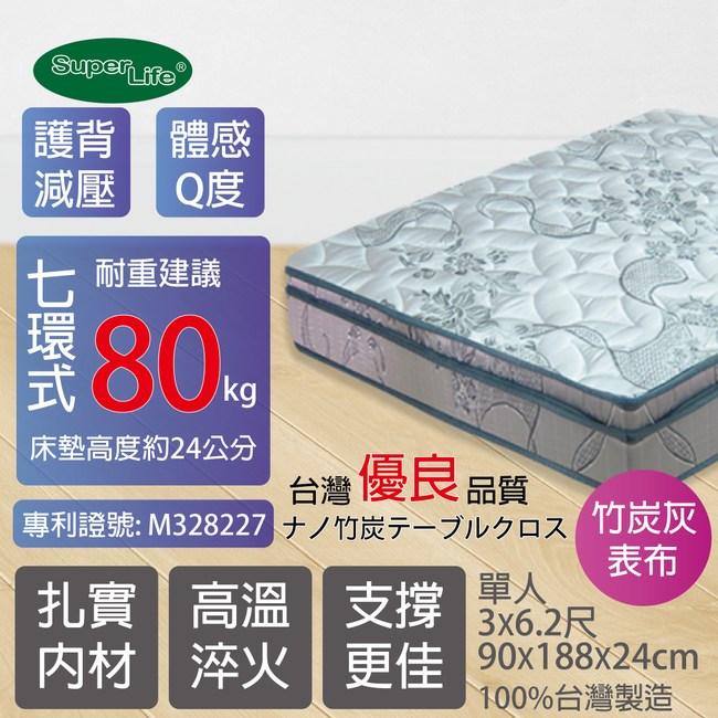 【SuperLife】AA護背Q彈三線床墊-單人銀灰色90x186公分 →3x6.2尺