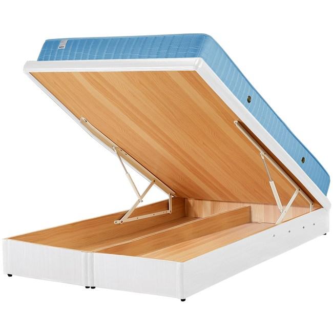 Homelike 麗緻二線獨立筒6尺掀床組-雙人加大掀床(純白)