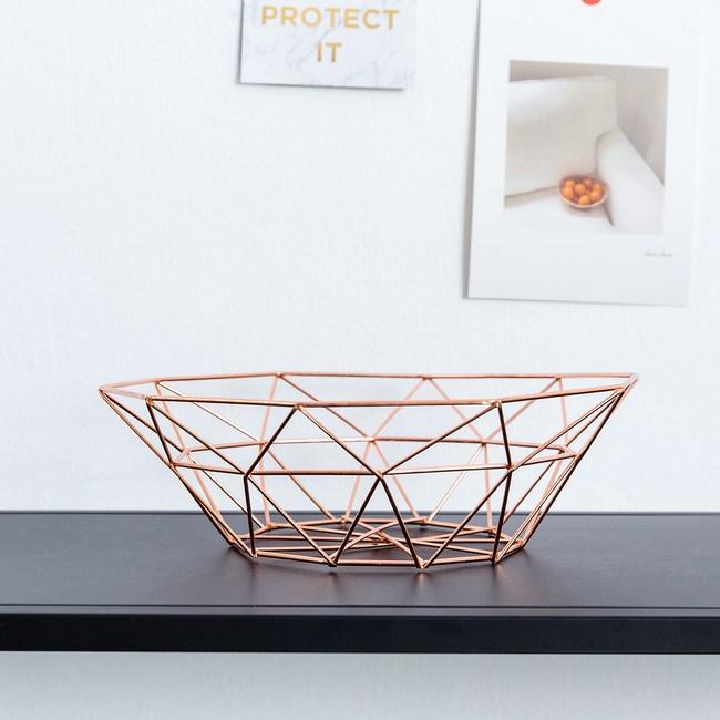 現代風金屬裝飾置物籃--淺-玫瑰金