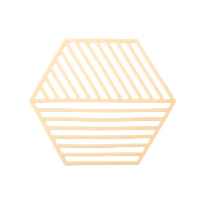HOLA 北歐幾何格紋造型橡膠鍋墊-粉黃