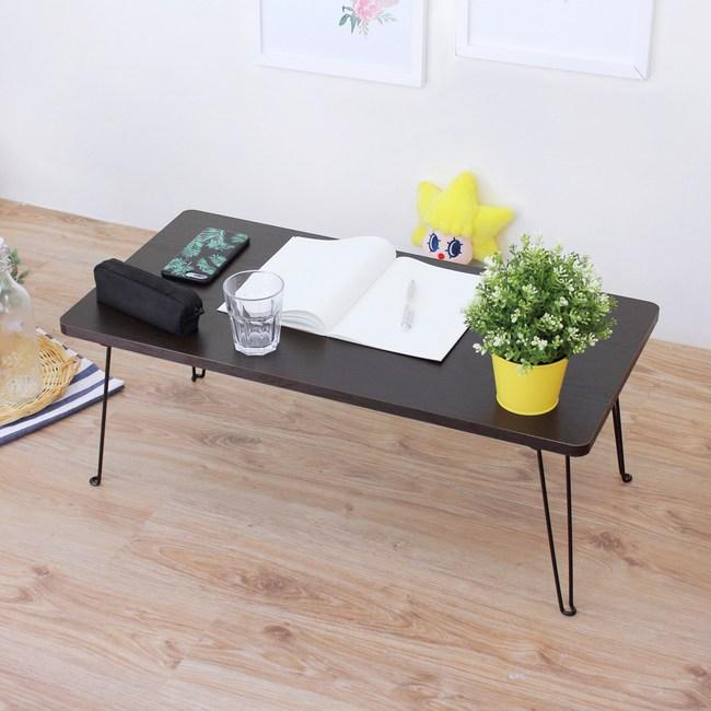 【頂堅】折疊桌/野餐桌/和室桌/矮桌-寬80x深40x高31公分-二色深胡桃木色