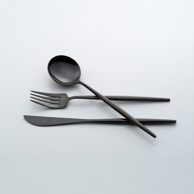 Cutipol MOON 餐具3入組-黑