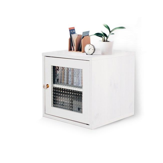 Hako有故事的風格-馬賽克玻璃櫃(復古洗白木紋)