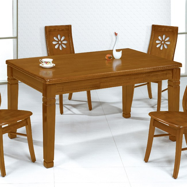 【YFS】隆卡柚木實木餐桌-126x81x75cm