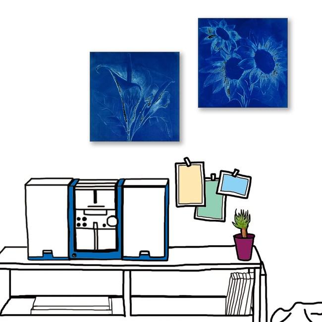 24mama掛畫  二聯式 藝術花卉 手繪插畫風無框畫 30X30cm