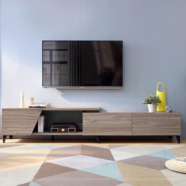 林氏木業現代簡約可伸縮電視櫃DV1M-胡桃木色