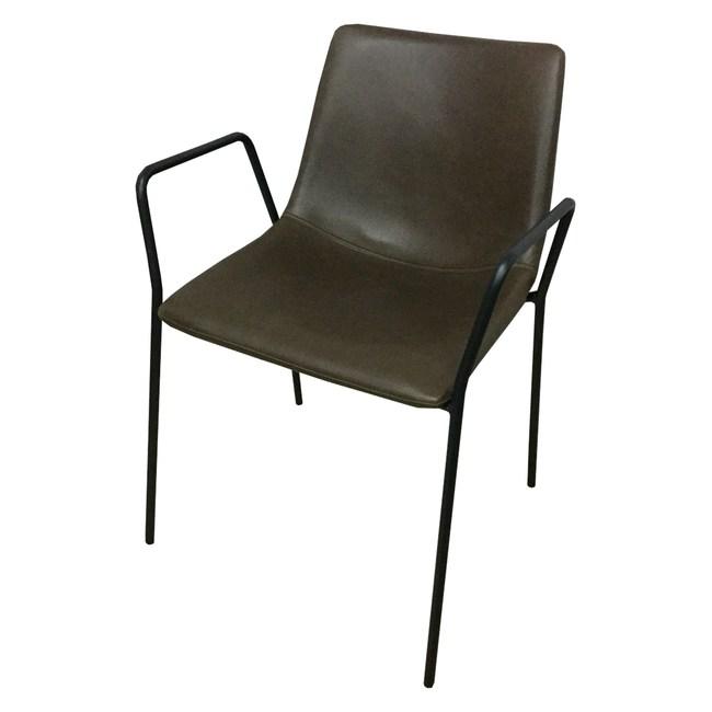 【YFS】Afra皮面鐵腳餐椅-54x49x77cm