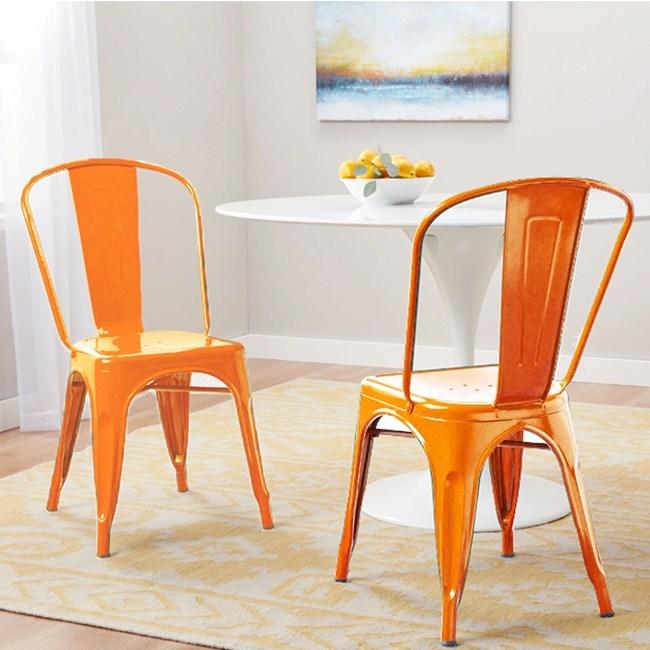 E-home希德尼工業風金屬高背餐椅-橘色