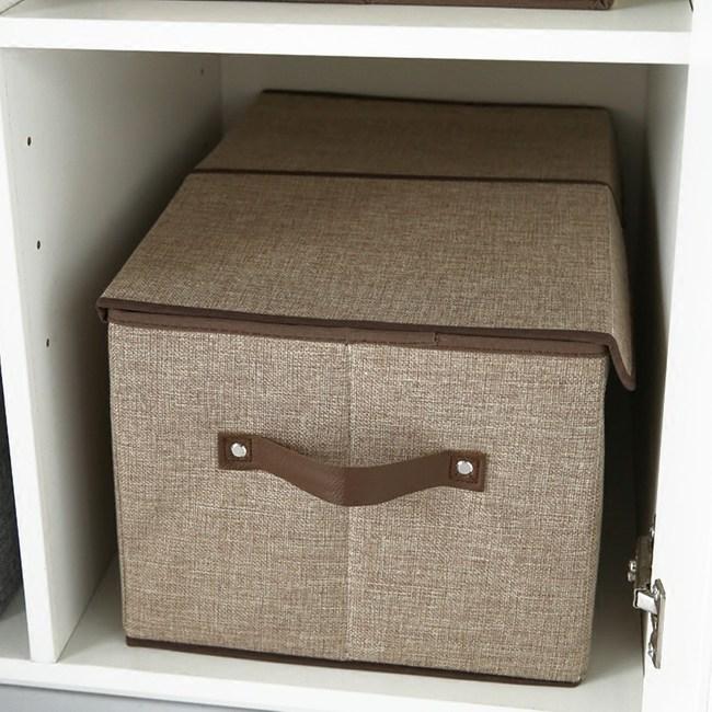 日式簡約雙蓋布質收納箱 -米黃色