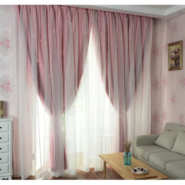 【三房兩廳】夢幻雙層鏤空星星遮光窗簾-粉色150x170cm