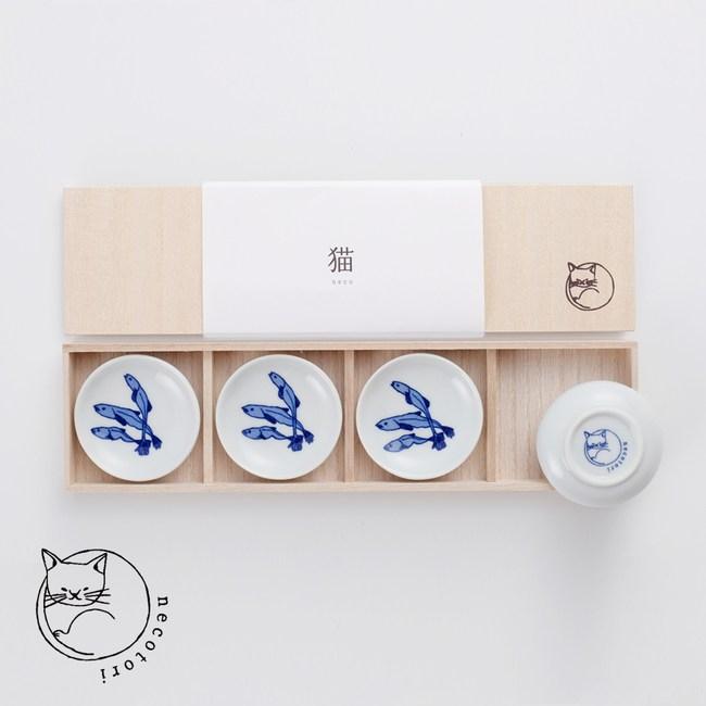 【石丸】波佐見燒 - 小魚乾豆皿禮盒(4件組)