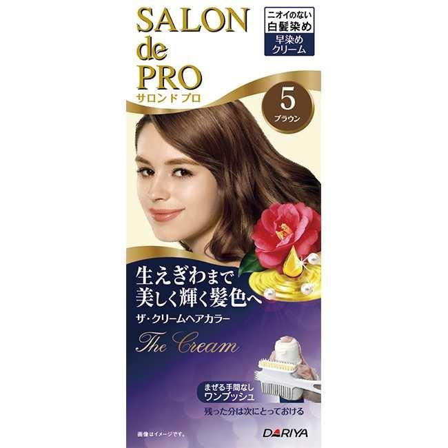 日本dariya沙龍級ONE PUSH女士用白髮染髮乳#5自然棕*3