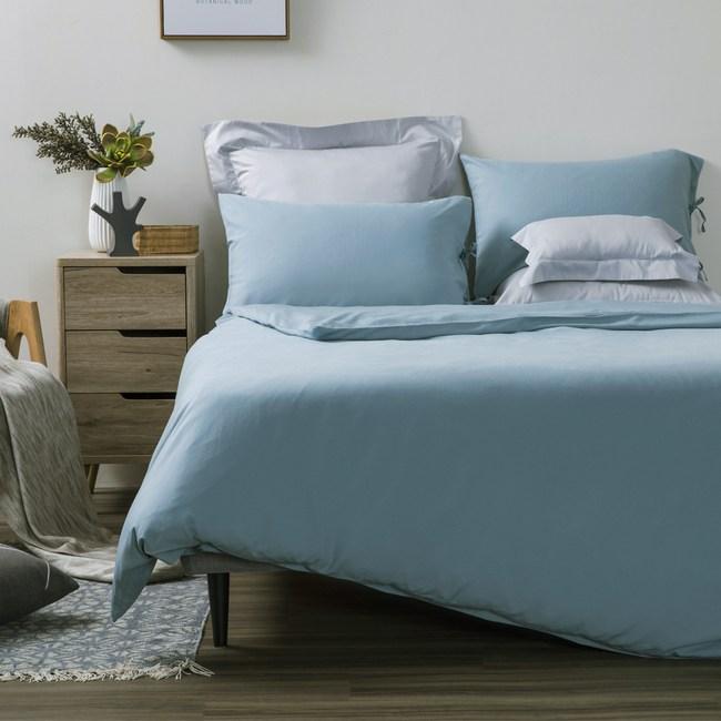 HOLA 法式輕柔水洗亞麻系列 美式枕套 2入 灰湖綠