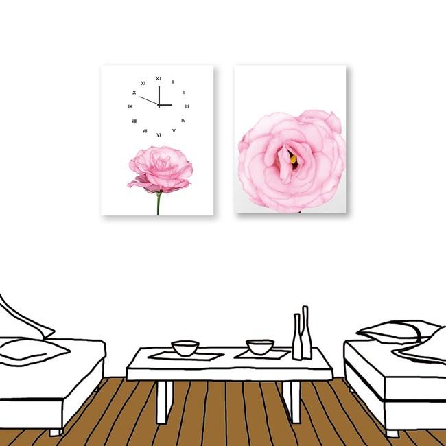 24mama掛畫 二聯式 粉色花卉 時鐘掛畫 無框畫 30X40cm