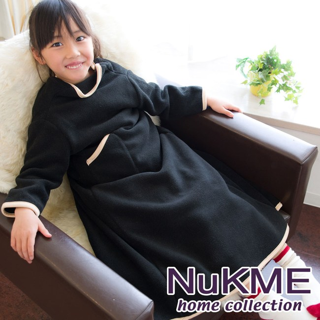 棉花田【NuKME】兒童時尚多功能創意袖毯-多色可選(85cm)黑色