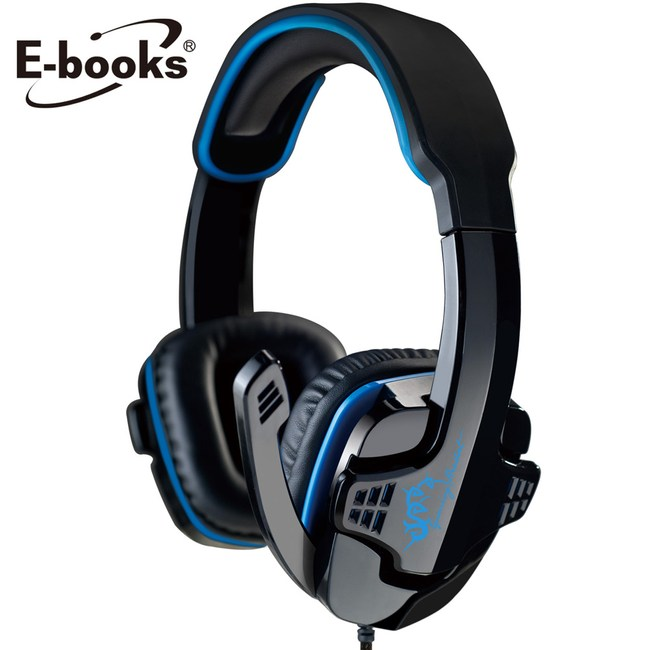 E-books S25 電競頭戴耳機麥克風藍