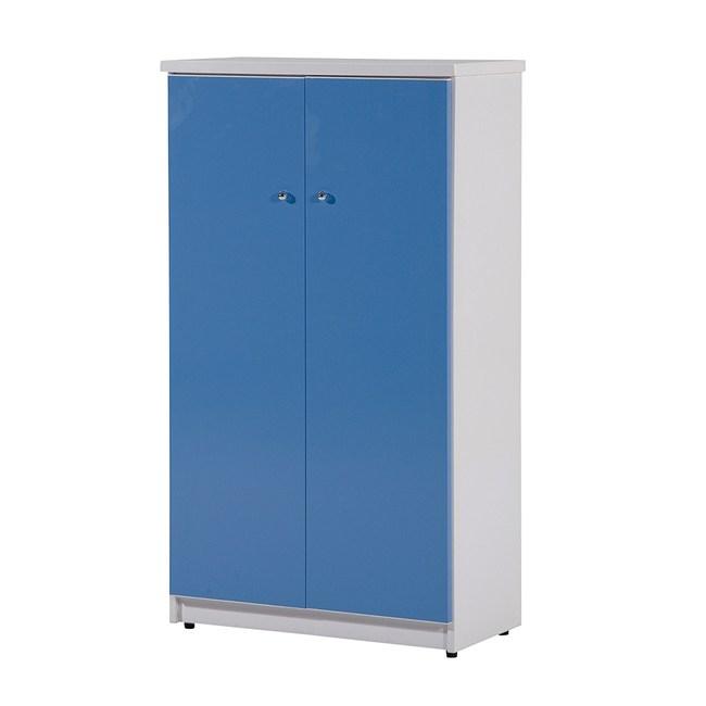 顛覆設計 防水塑鋼2.2尺雙門鞋櫃-寬65x深33x高117cm粉藍色