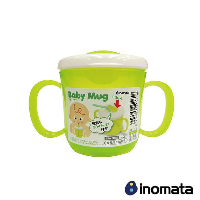 INOMATA 日本製造 兒童可插吸管學習杯-綠 IN-1118-G