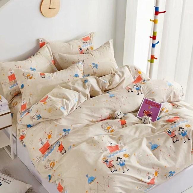 【eyah】100%寬幅精梳純棉雙人床包被套四件組-魯夫人呢