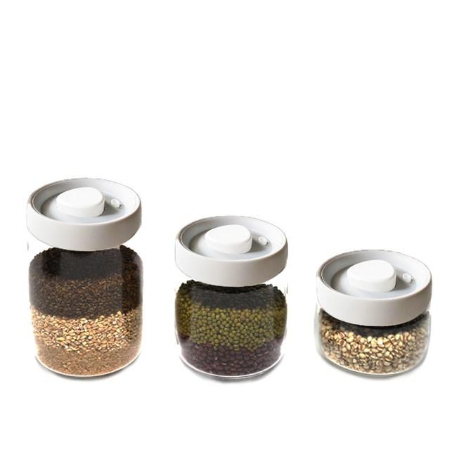 TIMEMORE 真空玻璃密封罐-白蓋(大中小三入組 )大中小三入組