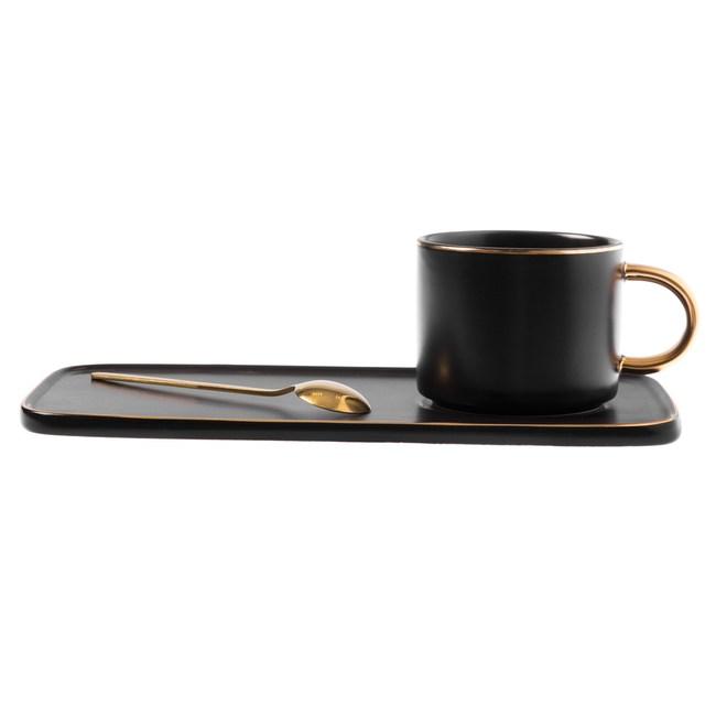 霧光描金長盤杯碟組 不銹鋼匙附屬 黑色款