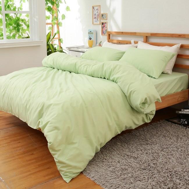 【eyah】純彩壓花雲絲絨雙人加大床包被套四件組-果綠