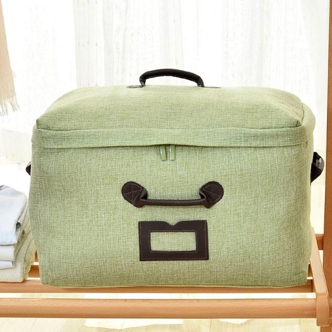 日式布質衣物棉被收納袋-(綠)小