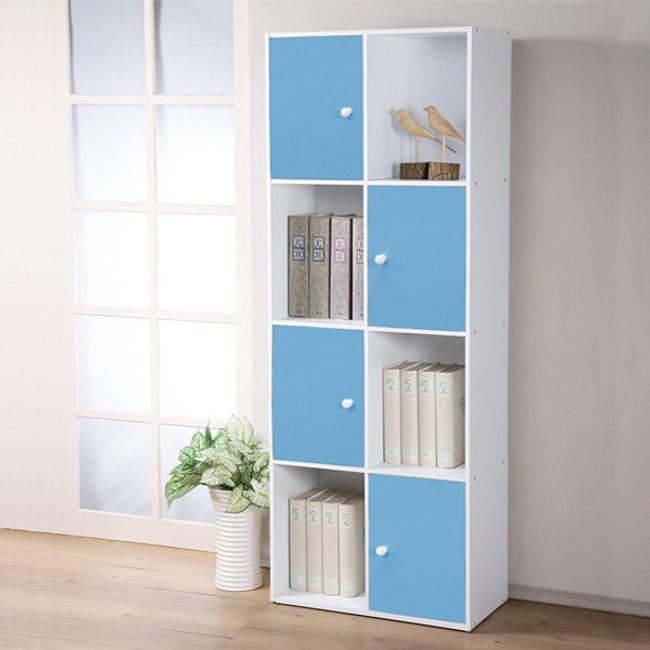 【Homelike】現代風八格四門置物櫃(三色)粉藍