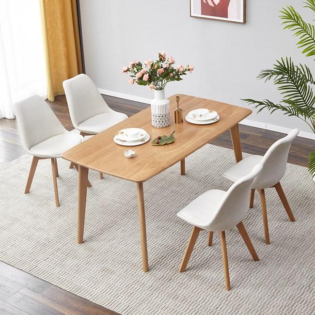 源氏木語柏林橡木1.5M Y8356T+餐椅Y8361-米白色(一桌四椅)