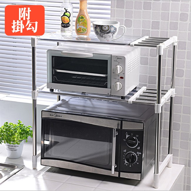 【媽媽咪呀】雙層不鏽鋼廚房伸縮置物架(加贈8入收納掛勾)