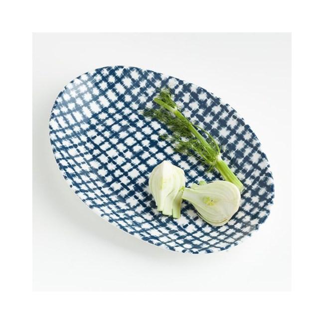 Crate&Barrel Marin 美耐皿橢圓平盤  藍染 40cm