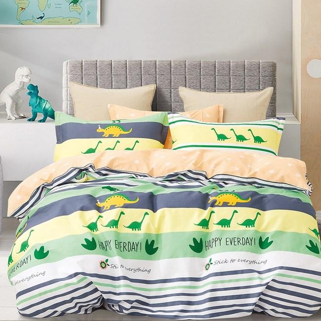 【eyah】100%寬幅精梳純棉雙人床包枕套3件組-吃素的長頸龍