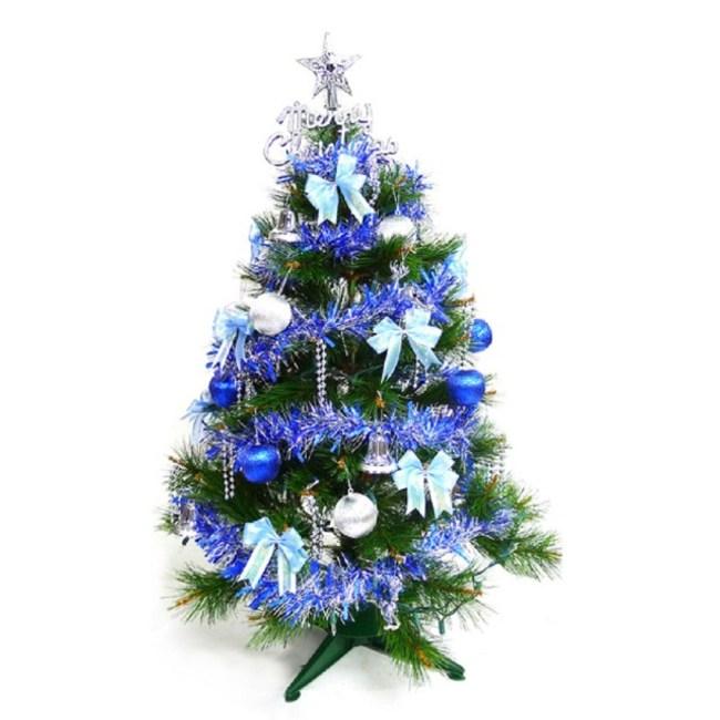 3尺90cm綠松針葉聖誕樹+藍銀系配件不含燈