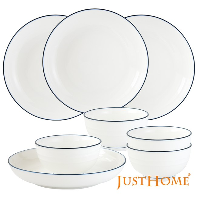 Just Home里尼陶瓷超值8件餐具組(8吋深盤+碗)