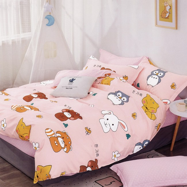 BUTTERFLY-純棉四件式被套床包組-春光燦爛-紅(加大)