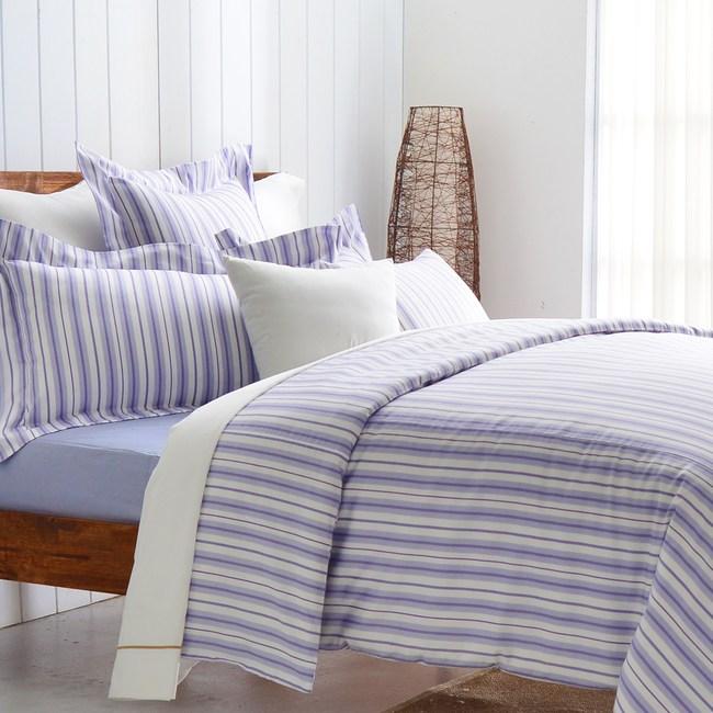 【Cozy inn】生活-藍 300織精梳棉三件式被套床包組(單人)