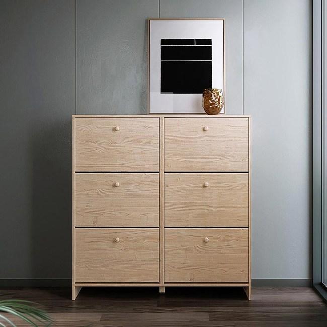 林氏木業北歐簡約寬型雙排超薄翻板收納鞋櫃HS3N-原木色