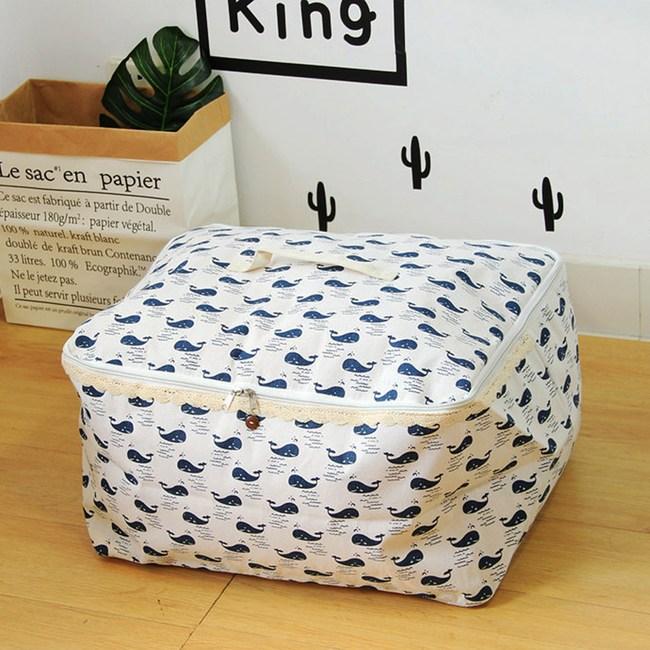 【收納職人】衣物棉被大容量防水防塵袋收納袋收納箱50L-白底小藍鯨