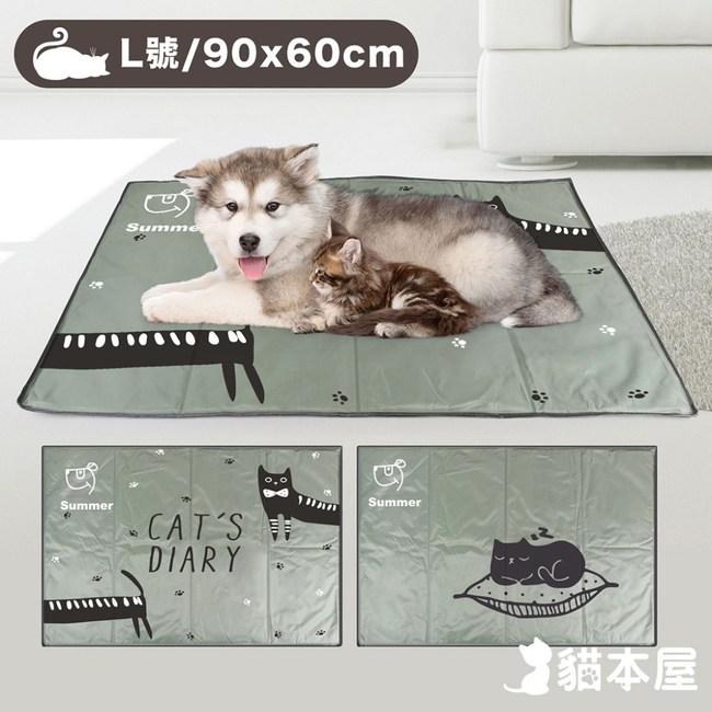 貓本屋 冰晶軟凝膠 寵物降溫墊(L號)灰貓