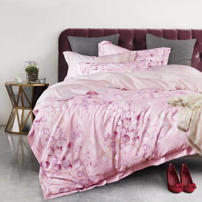 戀家小舖 天絲雙人床包 粉色玫瓣