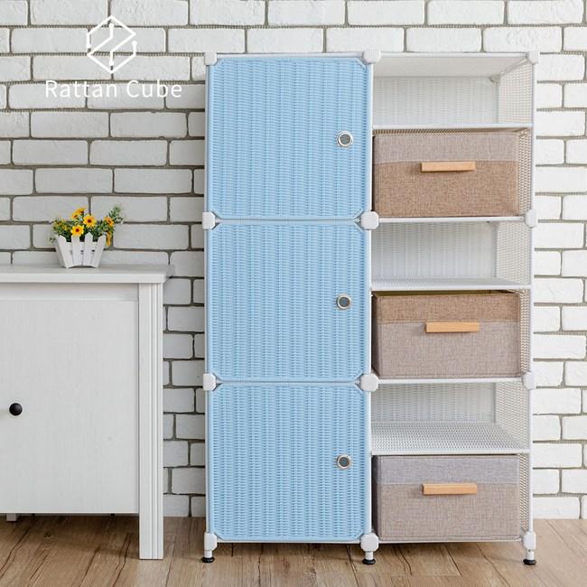 【藤立方】組合3層6格收納置物架(3門板+3置物盒+調整腳墊)-白色/粉藍色