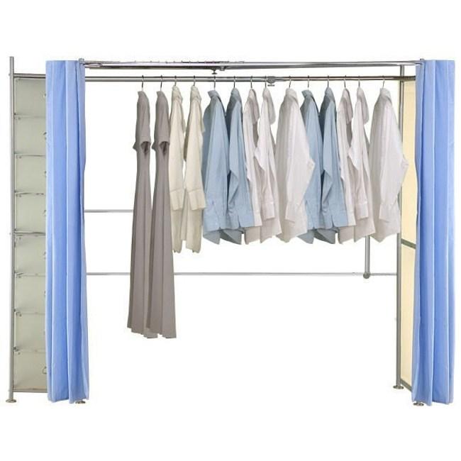 巴塞隆納─AH-02伸縮衣櫥 前布簾水藍色不織布